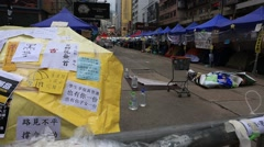 Yellow umbrella revolution site on Causeway Bay in Hong Kong Stock Footage