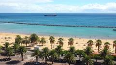 Landscape, coast and beach Las Teresitas view, Tenerife, Canary islands. Stock Footage