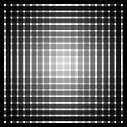 Optical art grid in black and grey with white dots - stock illustration