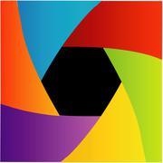 Colorful Shutter aperture background or design element - stock illustration