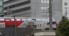 Ultra HD 4K Train Passing OBB Austrian Public Transportation Commuters Commute Stock Footage