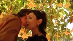 Couple hugging under tree Stock Footage