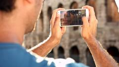 Young Man Hands Smartphone Taking Pictures Coliseum Stock Footage
