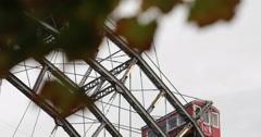 Ultra HD 4K CloseUp Detail Ferris Wheel Ride Prater Amusement Park Vienna Symbol Stock Footage