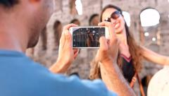 Pretty Young Woman Photographed Smartphone Couple Rome Stock Footage