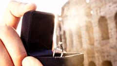 Romantic Marriage Proposal Italy Rome Diamond Ring Stock Footage