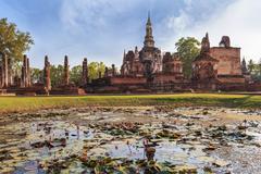 Sukothai historical park in thailand - stock photo
