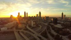 Atlanta Aerial Cityscape Freeway Stock Footage