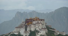 4k Potala Palace in the morning,Lhasa,Tibet.mountains surrounded by clouds. Stock Footage