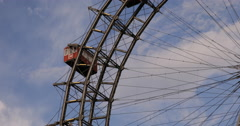UHD 4K Biggest Ferris Wheel Austria Vienna City Symbol Prater Amusement Park Stock Footage