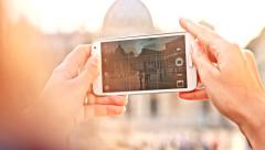 Smartphone Travel Taking Picture Italy Rome Vatican Vacation Concept Stock Footage