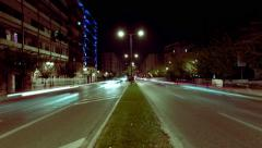 4K Athens city night street traffic light streaks timelapse motion control pan Stock Footage