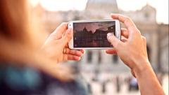 Woman Taking Smartphone Picture Italy Travel Freedom Concept Stock Footage