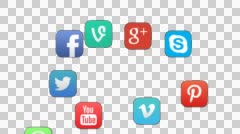 Social Networking Apps Fade In on a smartphone home screen (Alpha-channel) Stock Footage