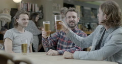 Men drinking beer Stock Footage