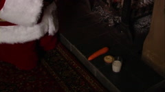 Stock Video Footage of Father Christmas with carrot and mince pie.