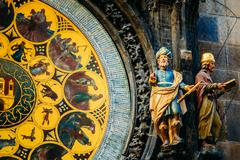Astronomical clock in prague, czech republic. close up photo Stock Photos