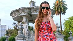 Beautiful Young Woman Attractive Successful Vacation Tropic Talking On phone Stock Footage