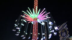 Oktoberfest Night Shots of Ride and Crowd Stock Footage