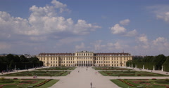 UHD 4K Establishing Shot Aerial View Schonbrunn Palace Garden Gloriette Vienna Stock Footage
