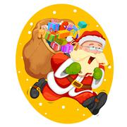 Santa Claus with bag for Christmas gift Stock Illustration