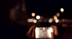 Taking Picture Night Time Vacation Italy Europe Stock Footage