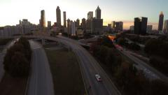 Stock Video Footage of Atlanta Aerial Cityscape Freeway