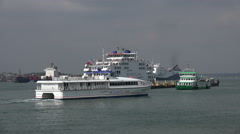 Wightlink passenger ferry arrives at portsmouth from isle of wight, england Stock Footage