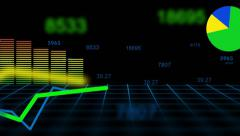 Financial Charts Growth Only  - alpha channel Stock Footage