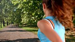Pretty Active Young Woman Runner Exercise Park Sport Concept Stock Footage