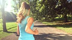 Sunny Summer Run Woman Runner Freedom Nature Sport Fitness athlete jogging Stock Footage