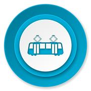 tram icon, public transport sign. - stock illustration