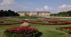 Ultra HD 4K Schonbrunn Palace Castle Park Garden Vienna Famous Landmark Wien Day Stock Footage
