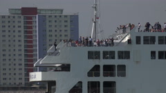 Zoom out, wightlink ferry leaves portsmouth for isle of wight, england Stock Footage