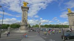City traffic on Paris street, France Stock Footage
