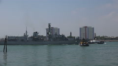 Stock Video Footage of hms westminster f237 royal navy frigate enters portsmouth harbour, england