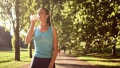 Active Attractive Young Sport Woman Jogging Drinking Water Resting Joy Summer Stock Footage