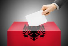 Stock Illustration of voting concept - ballot box painted into national flag colors - albania