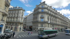 City traffic on Paris street, France, 4k, UHD Stock Footage