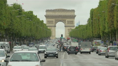 City traffic on Paris street, France, 4k, UHD - stock footage