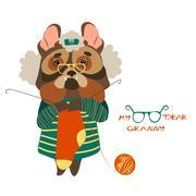Cute dog grandmother knits socks Stock Illustration