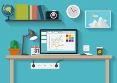 Working Place Modern Office Interior Flat Design Vector Illustra - stock illustration
