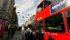 London street  uk  red bus Stock Footage