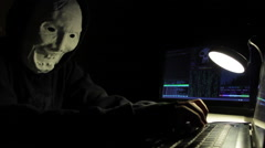 Hacker Typing in Dark Room with Screens - stock footage