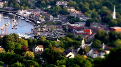 Tilt Shift Small town in Maine Two Stock Footage