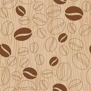 Wooden background with coffee pattern Stock Illustration