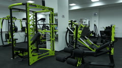 Modern fitness center with different gym equipment. Stock Footage