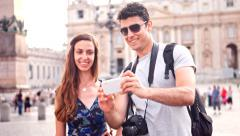 Attractive Tourist Couple Sight Seeing Rome Selfie Self Portrait Vatican - stock footage