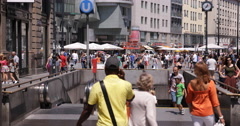 UHD 4K Tourists Vienna Shopping Street People Walking Crowded Busy Sidewalk  Stock Footage