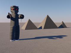 mummy and pyramids - stock illustration